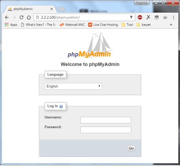 phpMyAdmin Orange PI Web Server